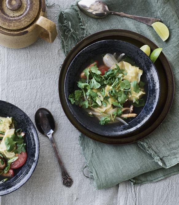 hot suppe med shiitake og wonton